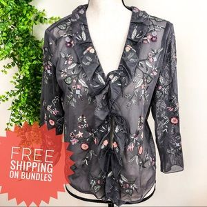 J. Jill Floral Embroidered Sheer Gray Cardigan